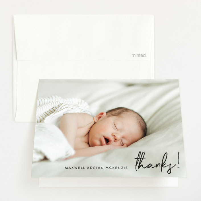 """""""name simply"""" - Modern Birth Announcements Thank You Cards in Noir by Phrosne Ras."""