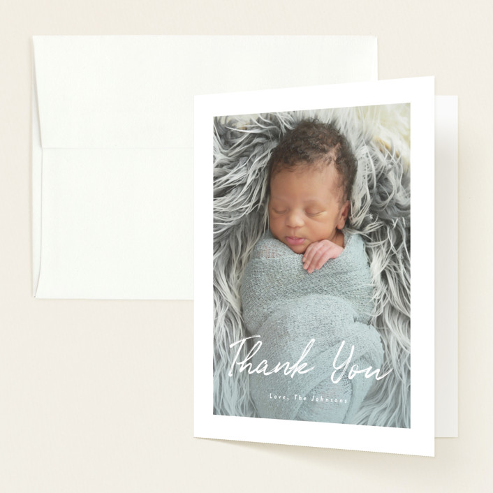 """Helena"" - Modern Birth Announcements Thank You Cards in Pearl by Basil Design Studio."