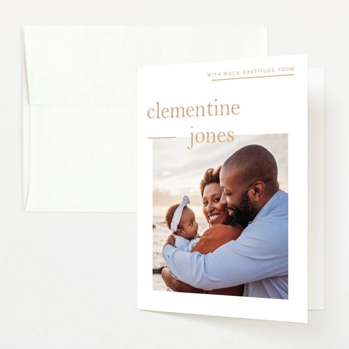 """Clementine"" - Preppy Birth Announcements Thank You Cards in Peach by Blustery August."
