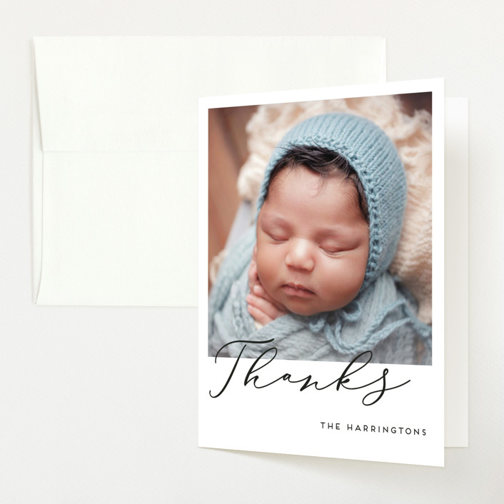 """""""First-Name Basis"""" - Modern Birth Announcements Thank You Cards in Onyx by Genna Blackburn."""