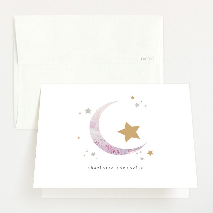 """Slumber"" - Birth Announcements Thank You Cards in Lavender by Itsy Belle Studio."