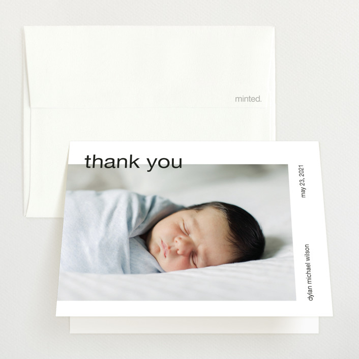 """modern header"" - Birth Announcements Thank You Cards in Noir by JoAnn Jinks."