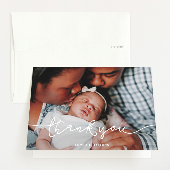 """Introducing Baby Script"" - Modern Birth Announcements Thank You Cards in Cloud by Christine Taylor."