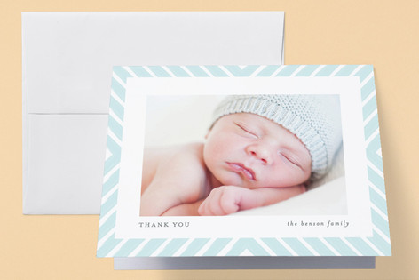 Brushed Chevron Birth Announcements Thank You Cards