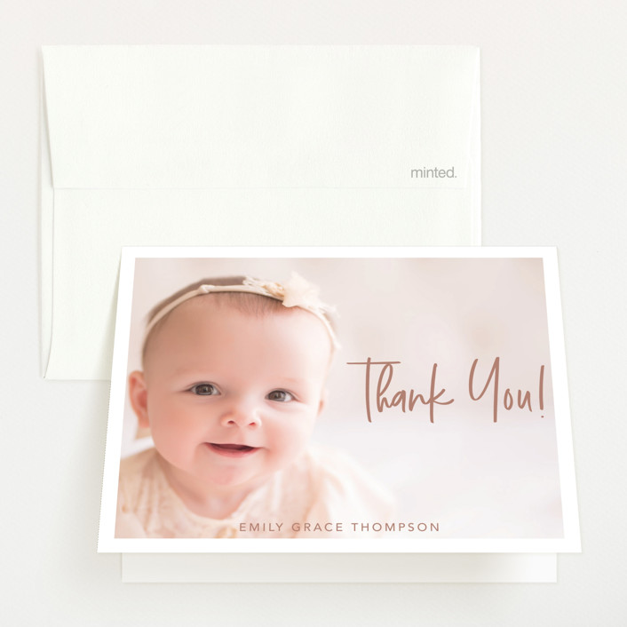 """""""Elegance in the name"""" - Modern Birth Announcements Thank You Cards in Dusty Rose by Lorena Depante."""