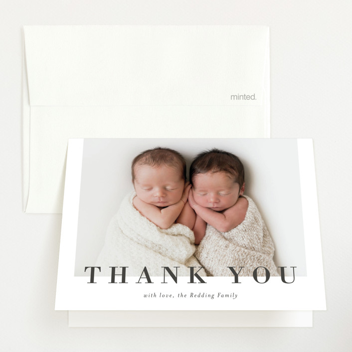 """""""Two to Love"""" - Birth Announcements Thank You Cards in Charcoal by Michelle Taylor."""