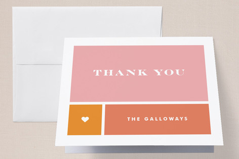 Classic Colorblock Birth Announcements Thank You Cards