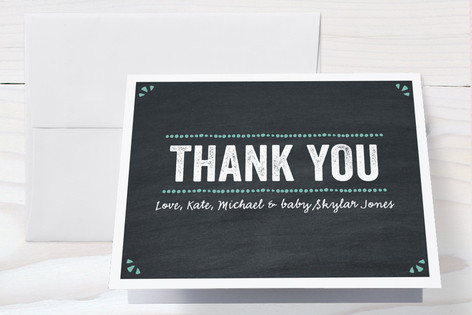 Whimsical Chalkboard Birth Announcements Thank You Cards