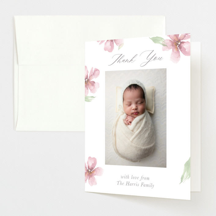 """""""Flower Petals"""" - Birth Announcements Thank You Cards in Petals by Melinda Denison."""