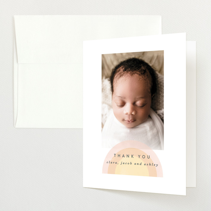 """our rainbow"" - Modern Birth Announcements Thank You Cards in Rose by Angela Garrick."