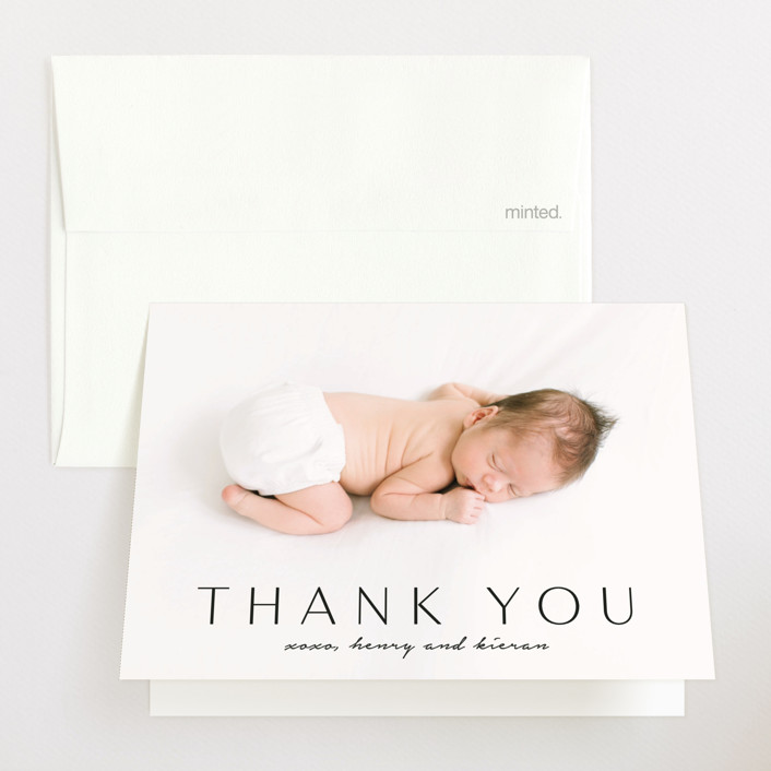 """Straight Forward"" - Birth Announcements Thank You Cards in Ebony by Kaydi Bishop."