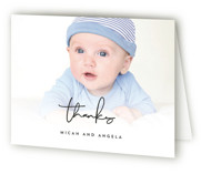 This is a black baby thank you card by Anna Elder called Black and White Story with standard printing on strathmore in standard.