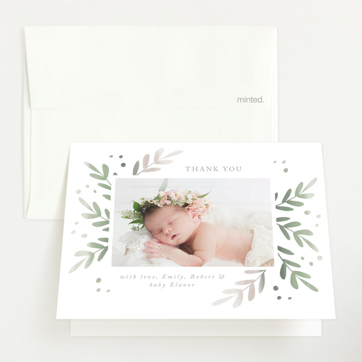"""""""Foliage Frame"""" - Birth Announcements Thank You Cards in Sage by Roopali."""