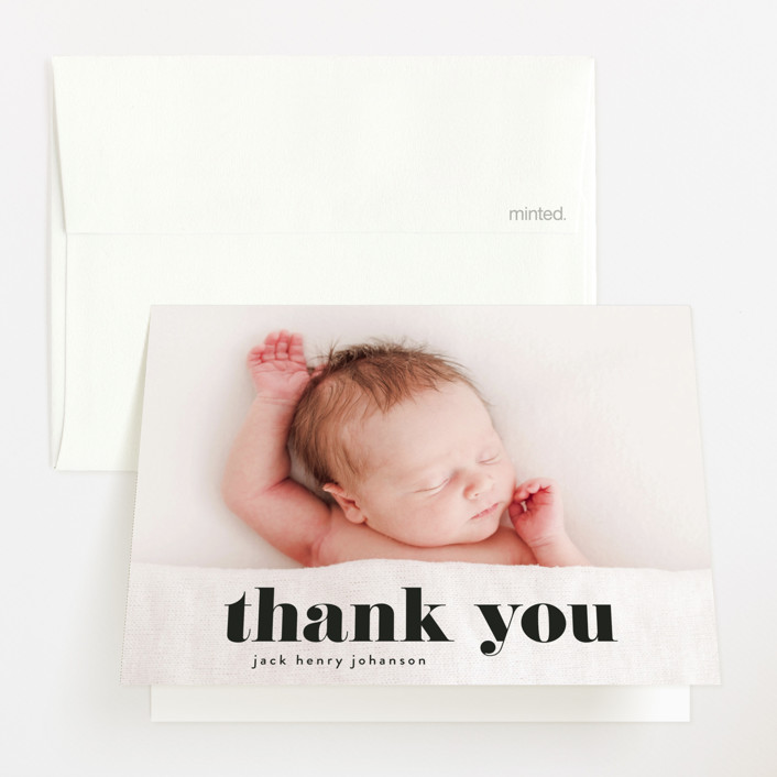 """""""the name"""" - Funny, Modern Birth Announcements Thank You Cards in Noir by Phrosne Ras."""