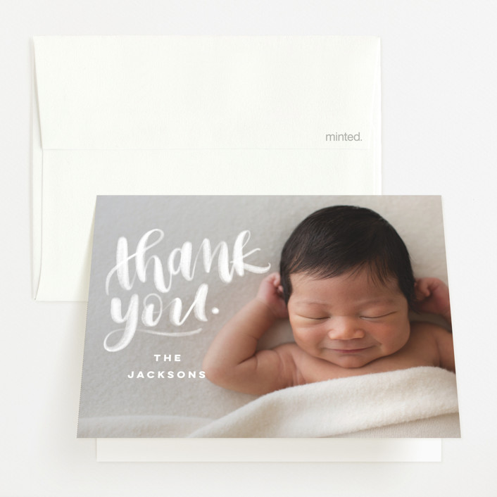 """""""hi."""" - Modern Birth Announcements Thank You Cards in Ice by Pink House Press."""