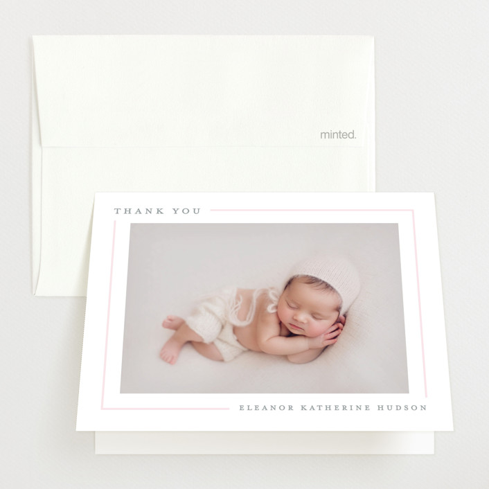 """Simply Serene"" - Preppy Birth Announcements Thank You Cards in Blush by Lauren Chism."