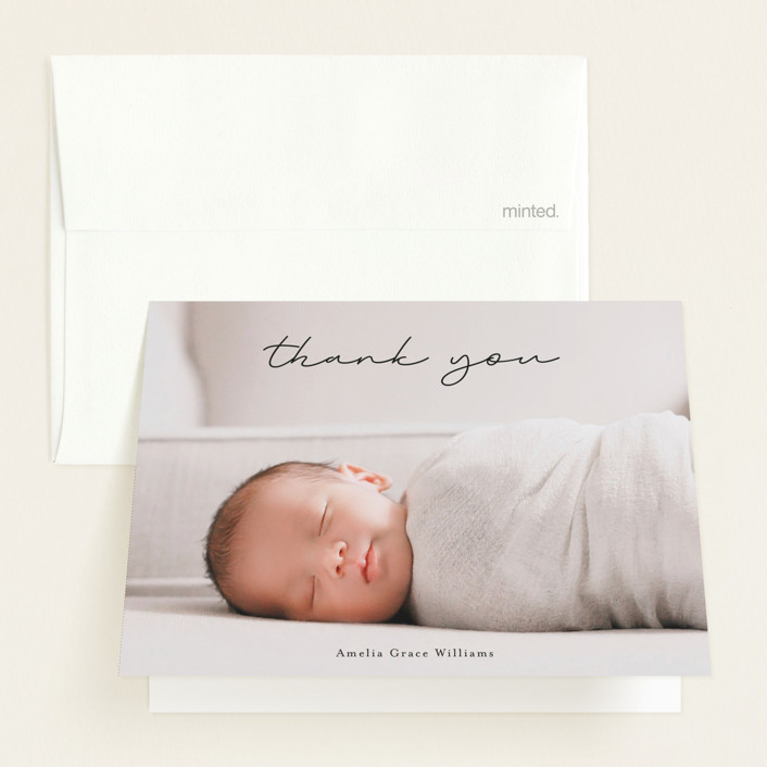 """""""pure grace"""" - Birth Announcements Thank You Cards in Onyx by Kasia Labocki."""