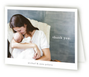 This is a black baby thank you card by Faith Dorn called Simple Type with standard printing on strathmore in standard.