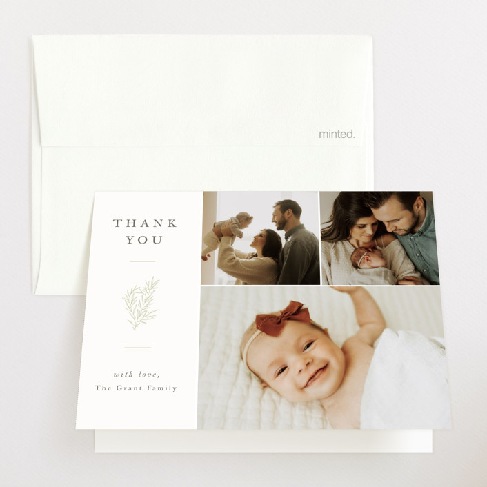 """""""Tiny Sprig"""" - Birth Announcements Thank You Cards in Sage by Sarah Brown."""