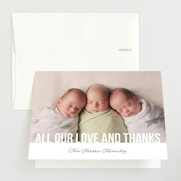 """Instant Family"" - Birth Announcements Thank You Cards in Cotton by 24th and Dune."