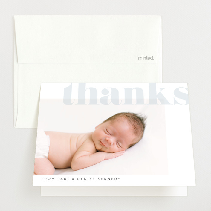 """Monogramme"" - Birth Announcements Thank You Cards in Cornflower by Erin Deegan."