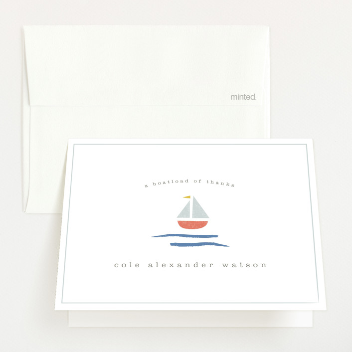 """sailor"" - Preppy Birth Announcements Thank You Cards in Marina by Shannon Hays."