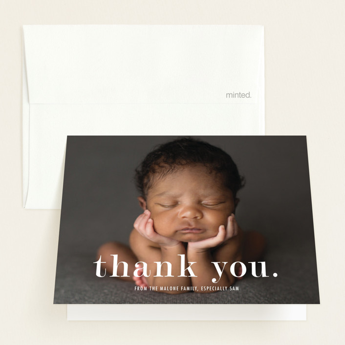 """""""Meeting"""" - Modern Birth Announcements Thank You Cards in Cloud by Up Up Creative."""
