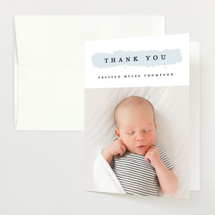 """""""Highlighted"""" - Preppy Birth Announcements Thank You Cards in Aqua by Michelle Taylor."""