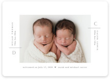 This is a grey birth announcement by Creo Study called Twin chic with standard printing on signature in standard.