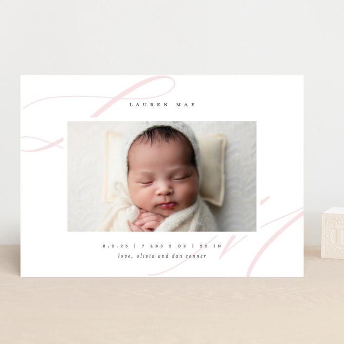 """Softest"" - Birth Announcements in Blush by Lauren Chism."