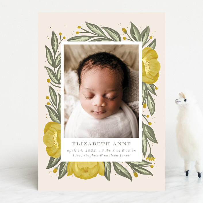 """""""Spring bouquet"""" - Birth Announcements in Mustard by Joanna Griffin."""