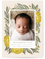 This is a yellow birth announcement by Joanna Griffin called Spring bouquet with standard printing on signature in standard.