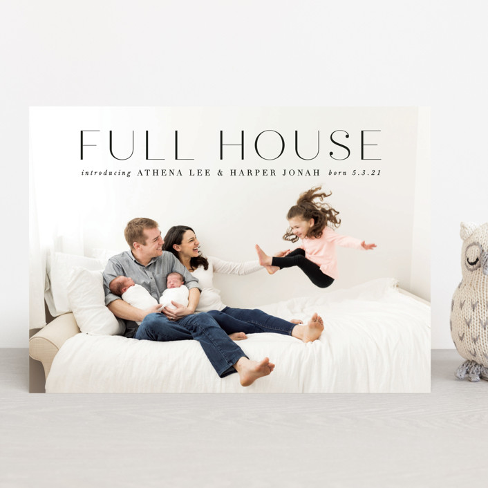 """A Full House"" - Modern Birth Announcements in Onyx by Lori Wemple."