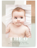 This is a brown birth announcement by Alethea and Ruth called Layered Paint with standard printing on smooth signature in standard.