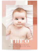This is a pink birth announcement by Alethea and Ruth called Layered Paint with standard printing on smooth signature in standard.