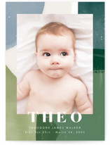 This is a green birth announcement by Alethea and Ruth called Layered Paint with standard printing on smooth signature in standard.