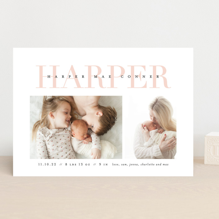 """Love-ly"" - Preppy Birth Announcements in Blush by Lauren Chism."