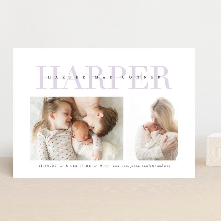 """""""Love-ly"""" - Preppy Birth Announcements in Blush by Lauren Chism."""