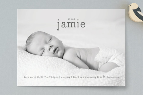 Metallic Heart Birth Announcements