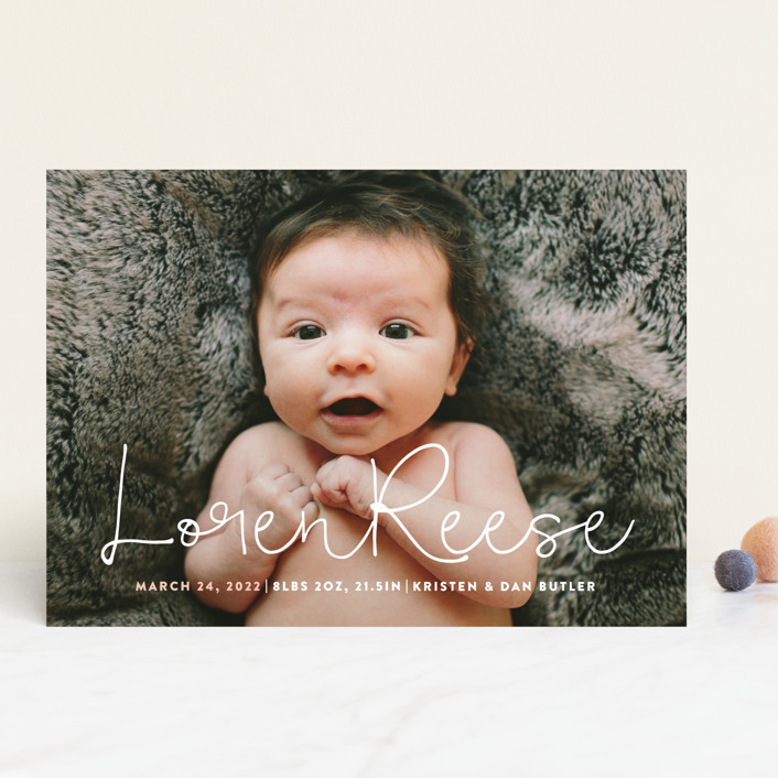 """""""Signature"""" - Modern Birth Announcements in Blossom by Up Up Creative."""