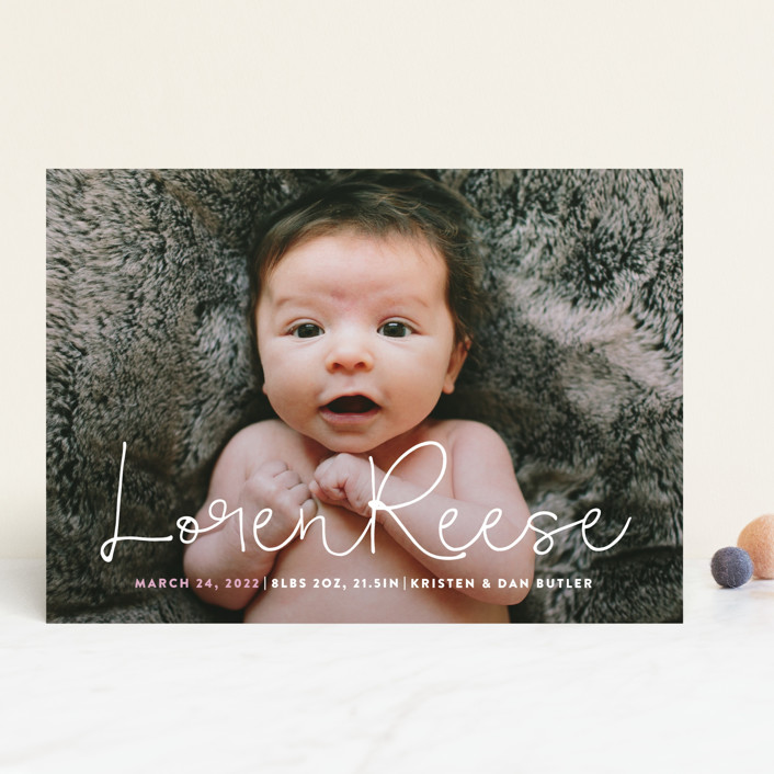 """Signature"" - Modern Birth Announcements in Blossom by Up Up Creative."