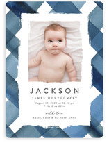 This is a blue birth announcement by Erica Krystek called Painted Plaid with standard printing on smooth signature in standard.