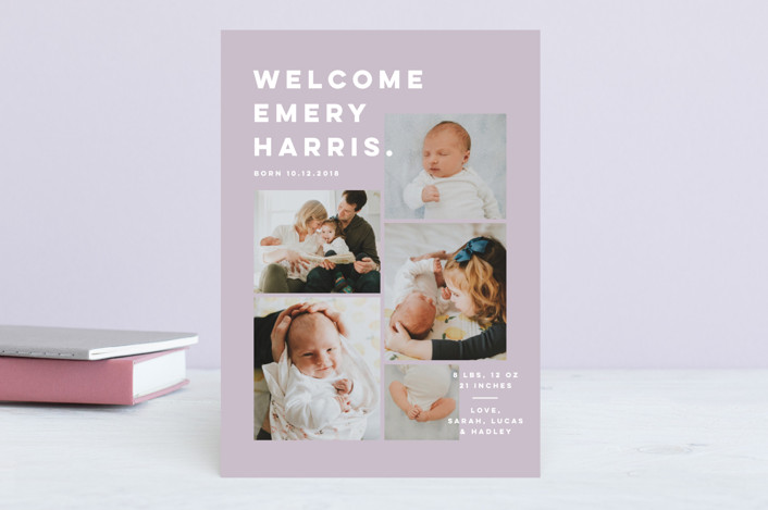 """""""Bold Grid."""" - Modern Birth Announcements in Cloud by Pink House Press."""