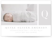 This is a grey birth announcement by Kristie Kern called Fresh Debut with standard printing on signature in standard.