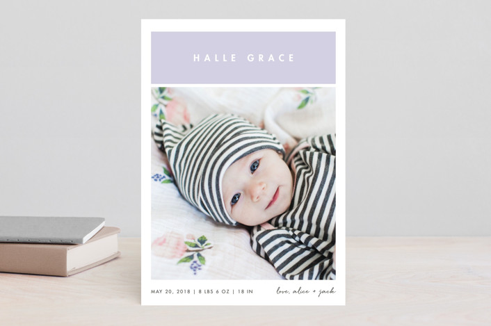 """""""Stacked"""" - Preppy Birth Announcements in Petal by Snow and Ivy."""