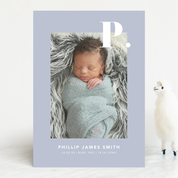 """Bold Capital"" - Preppy Birth Announcements in Periwinkle by Kristen Smith."