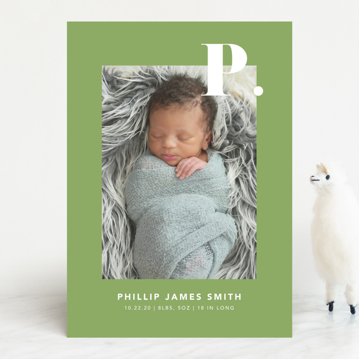 """""""Bold Capital"""" - Preppy Birth Announcements in Periwinkle by Kristen Smith."""