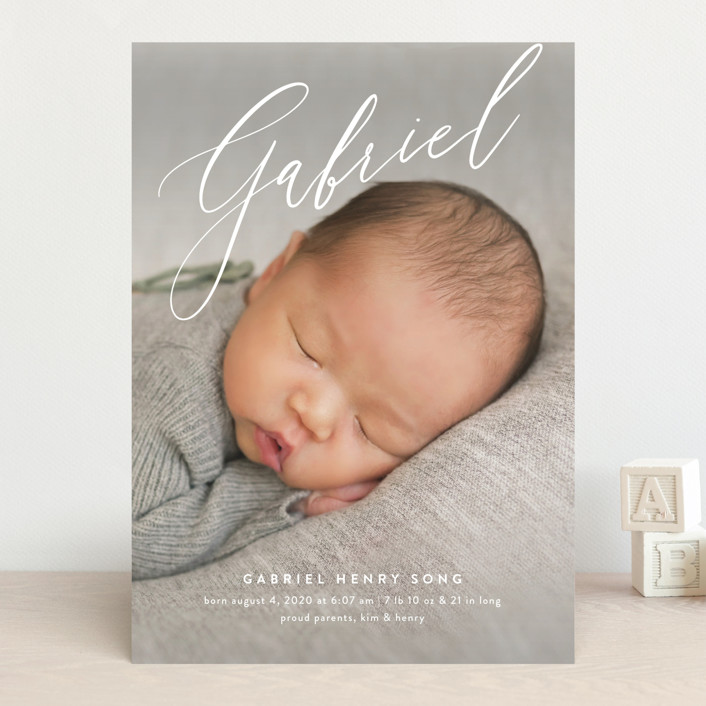"""Gabriel"" - Birth Announcements in Snow by Amy Kross."