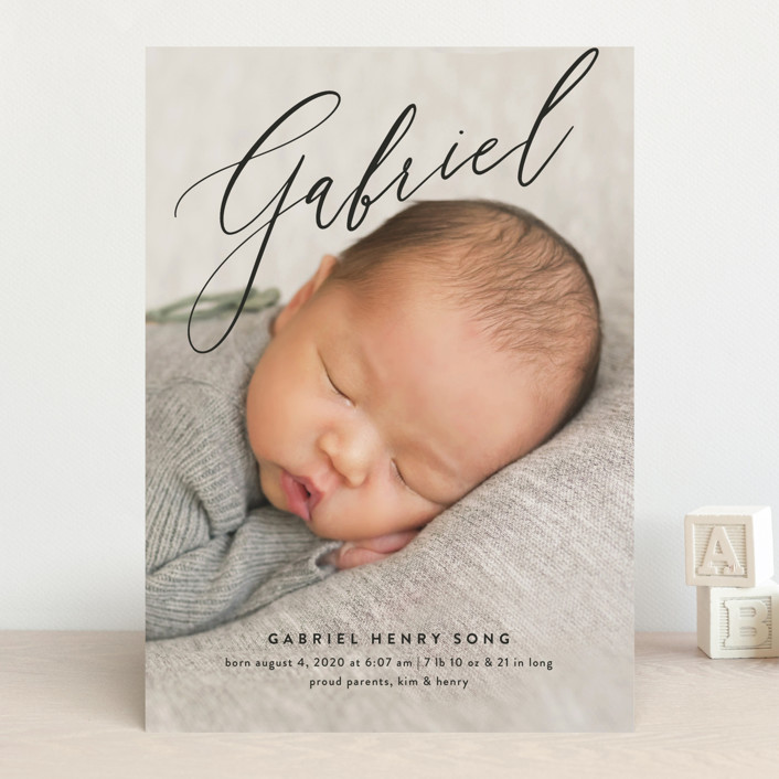 """Gabriel"" - Birth Announcements in Snow by Amy Kross."