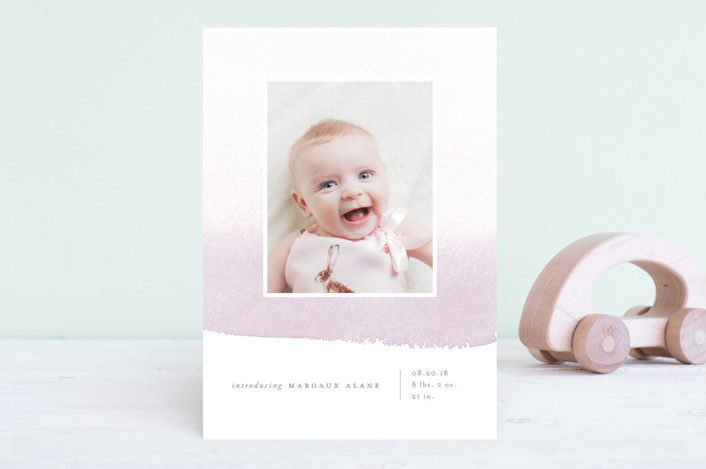 """""""Delicate Ombre"""" - Modern Birth Announcements in Precious Pink by Oscar & Emma."""